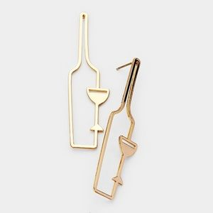 Gold Wine Bottle and Glass Cut Out Stud Earrings